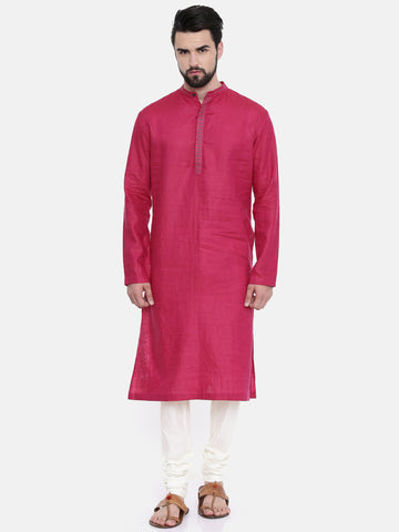Pink Linen Embroidered Kurta Set - MMK0236