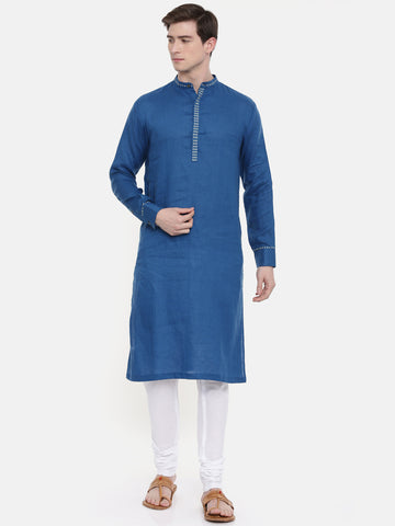 Blue Linen Kurta Set - MMK0242