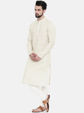 Cream Linen Embroidered Kurta Set  - MMK0249