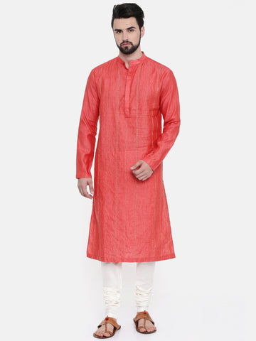 Rust Orange Embroidered Linen Kurta Set - MMK0251