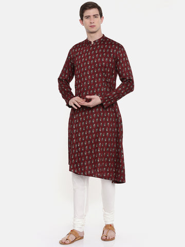 Red Printed Kurta Set - MMK0256