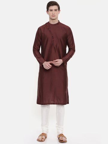 Brown Silk Kurta Set - MMK0261