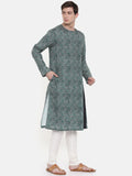 Green Linen Printed Kurta Set  - MMK0272