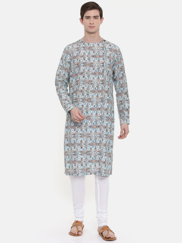 Aqua Blue Printed Kurta Set  - MMK0277