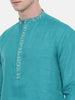 Aqua Blue Embroidered Kurta Set  - MMK0291