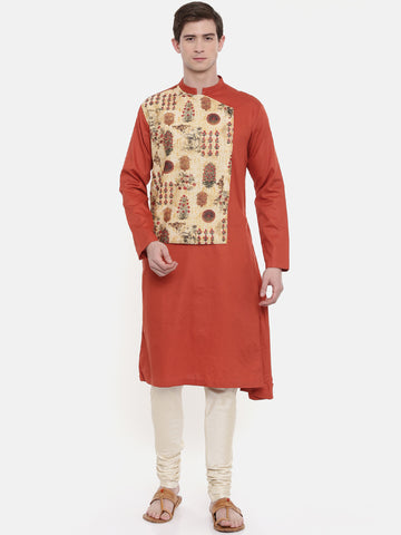 Orange Printed Kurta Set  - MMK0292