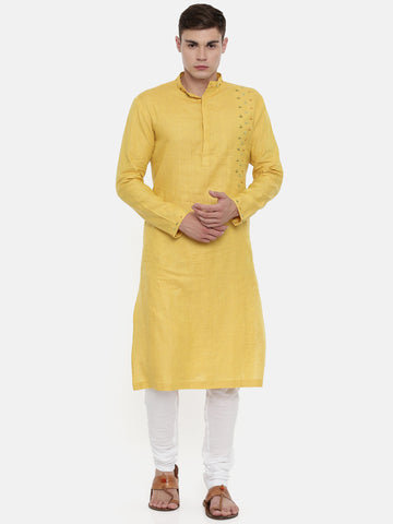 Yellow Linen Embroidered Kurta   - MMK0325