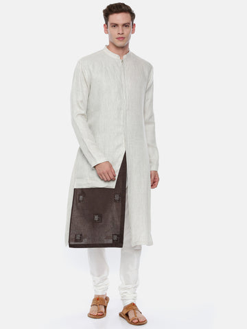 Cream Linen Jaquard with a Brown Patch Kurta - MMK0327