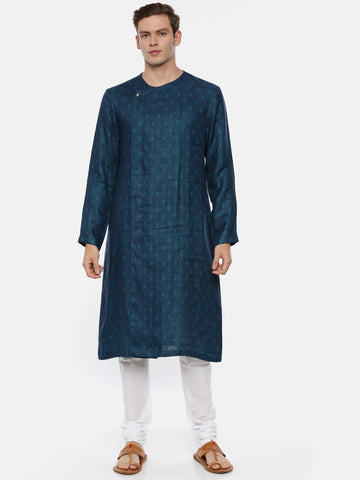 Green Blue Linen Jaquard Kurta Set - MMK0329