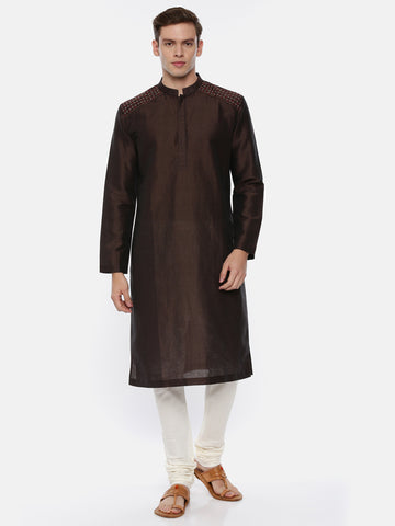 Brown Silk Kurta Set - MMK0338
