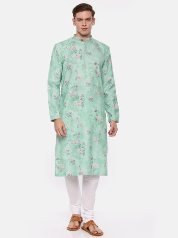 Blue Linen Printed Kurta Set  - MMK0344