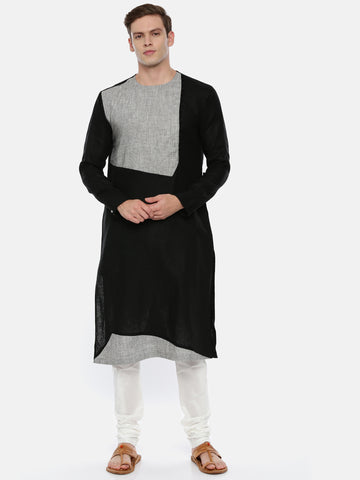 Black Grey Linen Patch Kurta Set - MMK0355