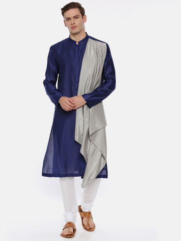 Blue Grey Drape Kurta Set - MMK0358