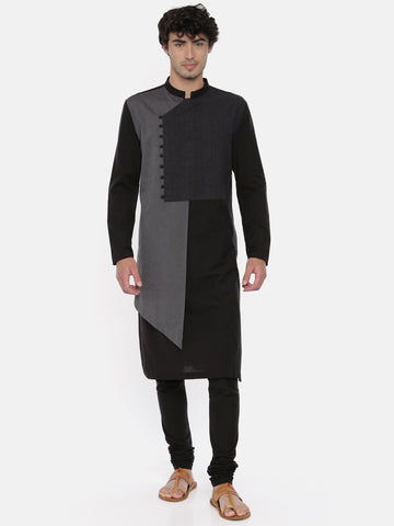 Black Grey Asymmetrical Kurta Set - MMK0359