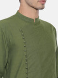 Green Cotton Asymmetrical Kurta Set - MMK0382