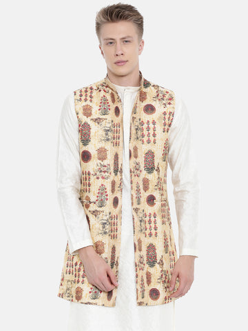 Chanderi Printed Long Open Jacket - MMLOJ001