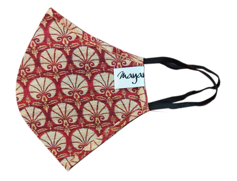 Chanderi Beige Digitally Printed Mask - MMMASK001