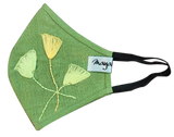 Hand Embroidery Green Linen Mask - MMMASK017