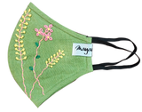 Hand Embroidery Green Linen Mask - MMMASK018