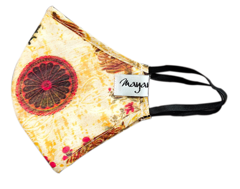 Chanderi Beige Digitally Printed Mask - MMMASK019