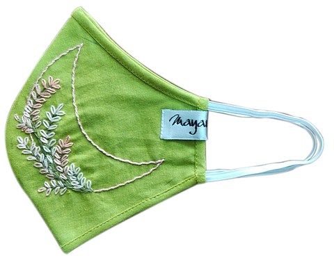 Hand Embroidery Green Linen Mask - MMMASK020