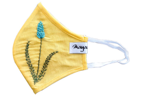 Yellow Cotton Hand Embroidered Mask - MMMASK035