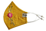 Soft Yellow Linen Double Layer Emb Mask - MMMASK066