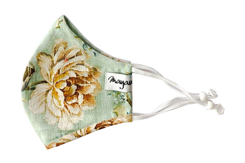 Green Linen Flower Print Mask - MMMASK070