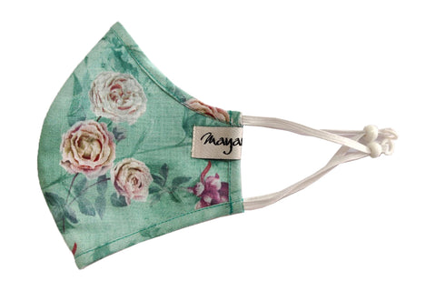 Soft Green Printed Linen Mask - MMMASK071