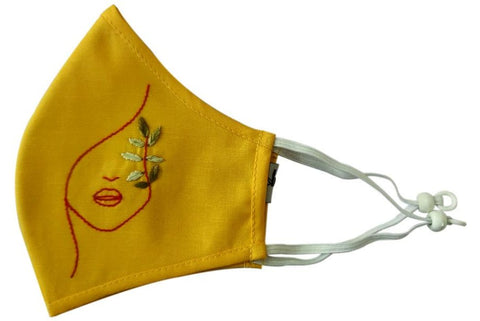 Yellow Cotton Hand Embroiderd Mask  - MMMASK053