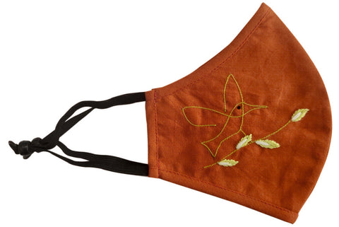 Rust Orange Cotton Hand Embroiderd Mask - MMMASK054