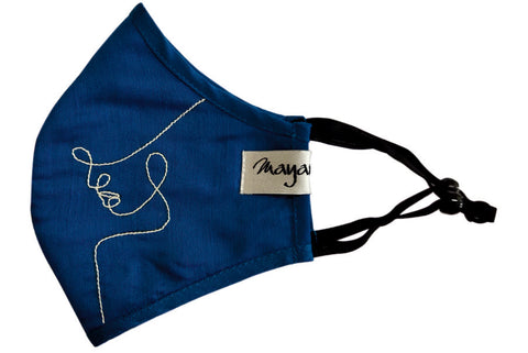 Navy Blue Embroidered Mask - MMMASK062