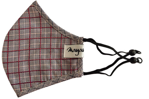 Grey Checkered Linen / Wool Mask - MMMASK073