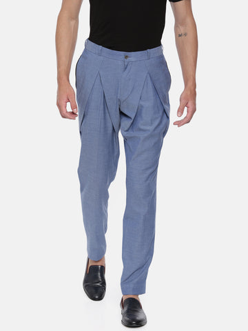 Blue Denim Pleated Cotton Trousers - MMP041