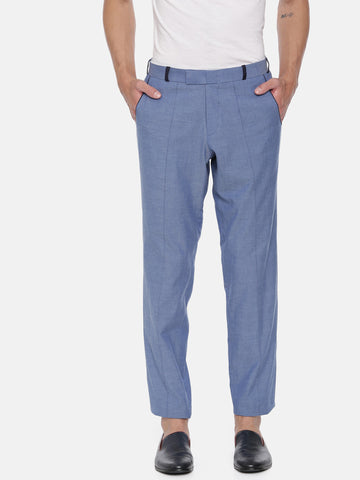 Denim Blue Cotton Fitted Trousers - MMP047