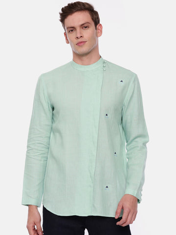 Light Green Linen Short Kurta - MMSK016