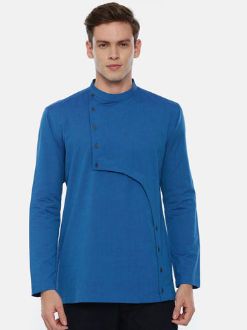 Blue Cotton Cut Away Short Kurta  - MMSK023