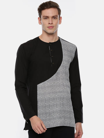 Grey Back Linen Short Kurta  - MMSK025