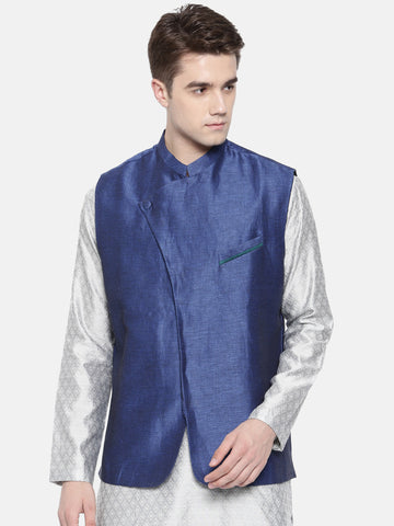 Linen/Silk Blue Nehru Jacket - MMWC0130