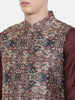 Chanderi Brown Printed Jacket  - MMWC0147