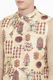 Chanderi Yellow Printed Jacket   - MMWC0148