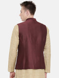 Chocolate Brown Embroidered Silk Jacket - MMWC0150