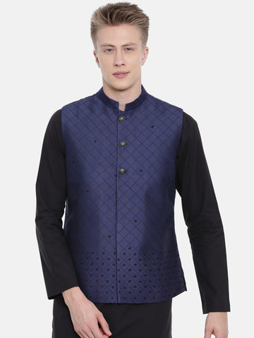 Navy Blue Silk Embroidered Jacket - MMWC0152