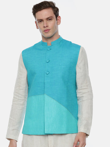 Aqua Blue Linen Jacket In Geometric Cut - MMWC0176