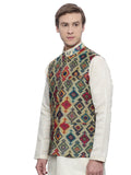 Printed Chanderi Modi Jacket- MMWC068