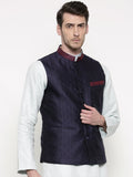 Silk Jaquard Navy Blue Jacket - MMWC083