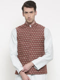 Chanderi Mustard Red Jacket