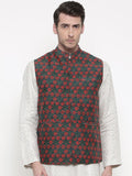 Chanderi Green Red Jacket