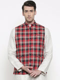 Red Black Checkered Cotton Jacket