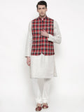 Red Black Checkered Cotton Jacket - MMWC094